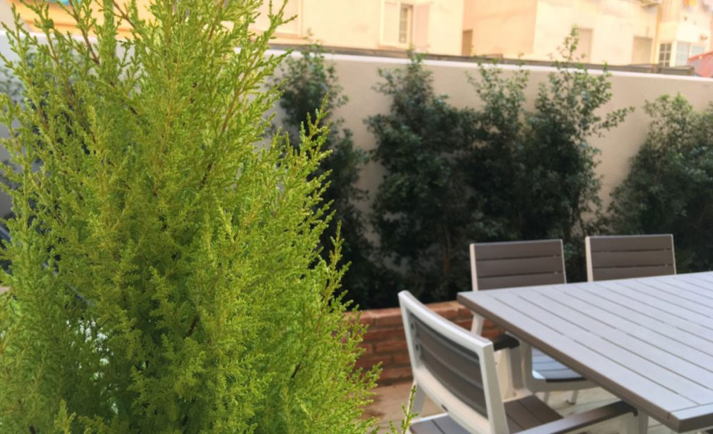 terraza con jardineras integradas